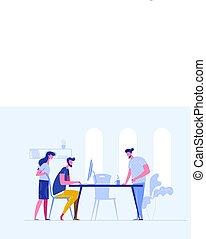 事務, 建築物, openspace., 討論, 在網上, 風格, company's, work., 矢量, 套間, 會議, 一, 人們。, bisiness, sturtup, 配合, 插圖, strategy., 創造性, 概念
