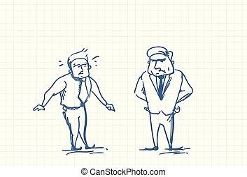 事務, 心不在焉地亂寫亂畫, 惊嚇, 老板, 談話, 憤怒, 人