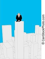 事務, 惊嚇, 插圖, 老板, 矢量, 屋頂, skyscraper., 商人, 人, 受驚, suicide., 建筑物。