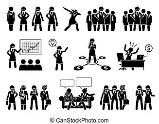 事務, 數字, pictogram., 專業人員, 或者, 從事工商業的女性, 棍, 夫人