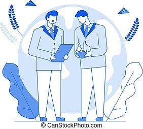事務, 現代, 討論, outline, 討論, 字符, 風格, 人們, 談話, 談話, 辦公室, 卡通, 線, 套間, 稀薄, 外形, 談話, 工作, illustration., 工人, 老板, 字