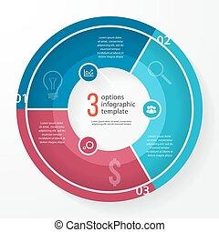 事務, 矢量, 樣板, infographic, 圖表, 環繞, 餅