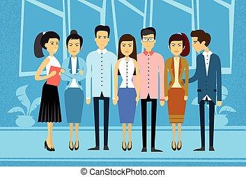 事務, 組, 亞洲人, 辦公室人們