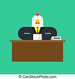事務, boss., 插圖, 公雞, chicken., desk., 矢量, 商人, 人