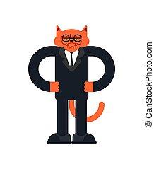 事務, pet., 插圖, 貓, 矢量, businessman., 人