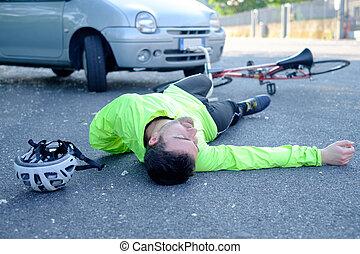 事故, 自行車, 瀝青, 以後, 昏倒, 疼痛, 人