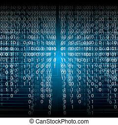 二進制, 摘要, 藍色的背景, 技術