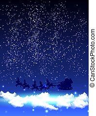 云霧, 不滿星星的, 克勞斯, 天空, 聖誕老人, 夜晚