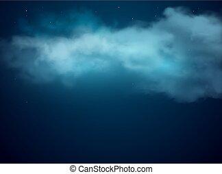 云霧, 夜晚, 背景, 星, 天空, 現實