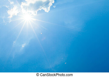 云霧, 太陽, 藍色的天空