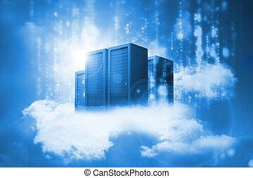 云霧, 數据, 藍色, 休息, 服務器