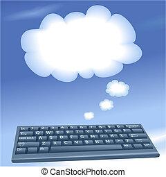 云霧, 計算, 電腦, 演說, 鍵盤, 氣泡, 雲