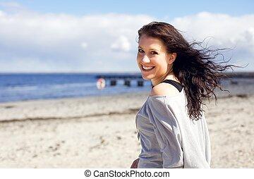 享用, 婦女, 海灘, 步行