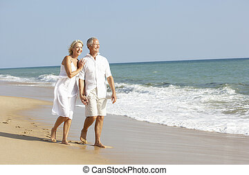 享用, 年長者, 假期, 海灘, 夫婦