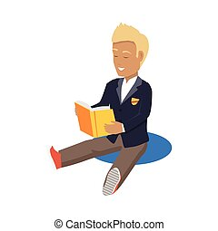 享用, 有毛發, 年輕, 學生, 白膚金髮, 閱讀, 愉快