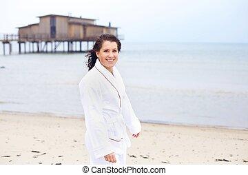 享用, 陽光, 婦女, bathrobe