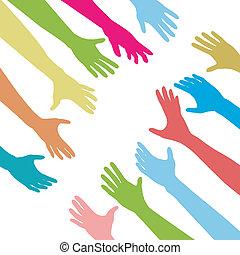 人們, 伸手可及的距離, 團結, 連接, 手, 橫跨, 在外