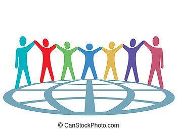 人們, 全球, 向上, 武器, 顏色, 手, 握住