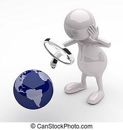 人們, 全球, 玻璃, 地球, 擴大, 3d