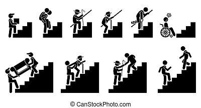 人們, 各種各樣, 或者, 樓梯, 樓梯。