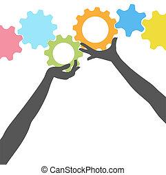 人們, 向上, 齒輪, 手, 握住, 技術