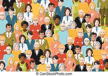 人們, 套間, 插圖, 人群, 國際