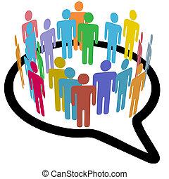 人們, 媒介, 演說, 內部, 社會, 環繞, 氣泡