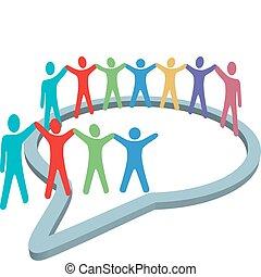 人們, 媒介, 裡面, 手, 演說, 社會, 握住, 氣泡