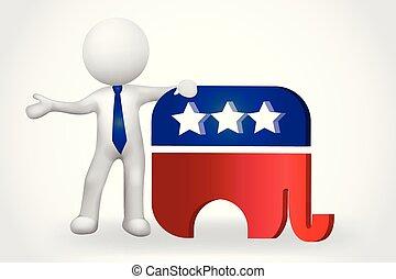人們, 小, -, 大象, 美國, 3d, 符號