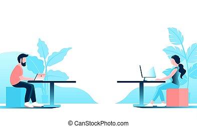 人們, 工作, 辦公室, computer., 年輕