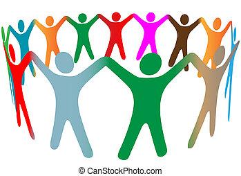 人們, 很多, 符號, 向上, 顏色, 多种多樣, 手, 戒指, 握住, 混合