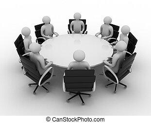 人們, 後面, -, 桌子。, 輪, 被隔离, 3d, 會議, image.