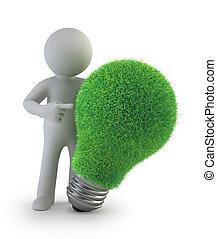 人們, -, 想法, 綠色, 小, 3d