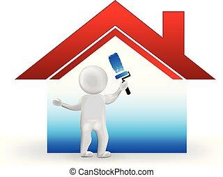 人們, 房子, 圖像, 小, 標識語, 畫, 3d