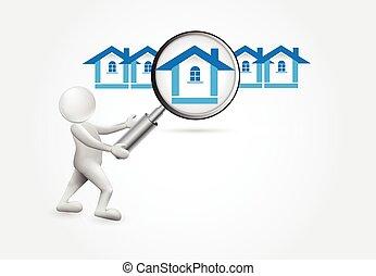 人們, 房子, -, 搜尋, 小, 3d