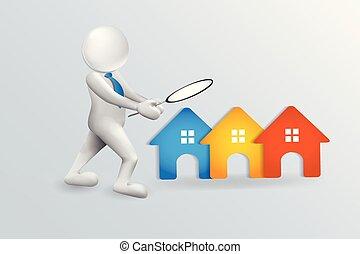 人們, 房子, 搜尋, 矢量, 標識語, 3d