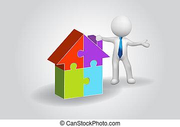 人們, 房子, 難題, 矢量, 小, 標識語, 人, 3d