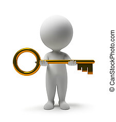 人們, -, 拿, 鑰匙, 小, 3d