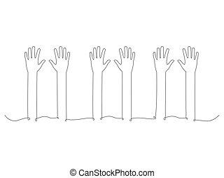 人們, 排隊, 連續, 手
