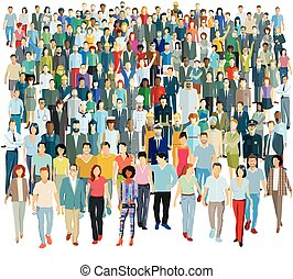 人們, 插圖, -, 矢量, 組, 大