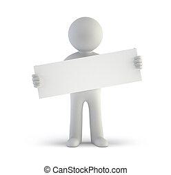 人們, -, 板, 空白, 小, 白色, 3d