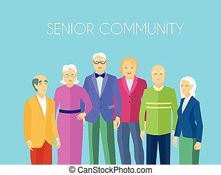 人們, 海報, 組, 年長者, 套間, 社區