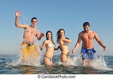 人們, 海灘, 跑, 組, 愉快, 樂趣, 有