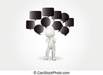 人們, 消極, 想法, 小, 標識語, 3d