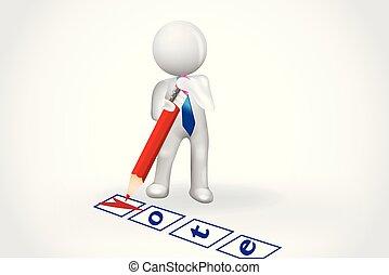 人們, 清單, 符號, -, 小, 投票, 卡片, 3d