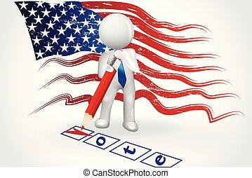 人們, 清單, 符號, -, 我們, 小, 旗, 矢量, 正文, 投票, 標識語, 圖像, 卡片, 3d