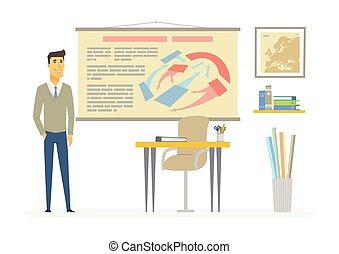 人們, 現代, -, 插圖, 卡通, 字符, 老師, 歷史