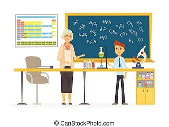 人們, 現代, -, 插圖, 字符, 課, 化學, 卡通