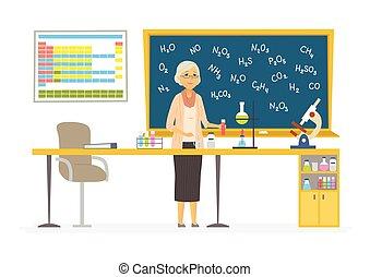 人們, 現代, -, 插圖, 老師, 字符, 化學, 卡通