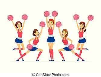 人們, 現代, -, 插圖, cheerleading, 字符, 隊, 卡通